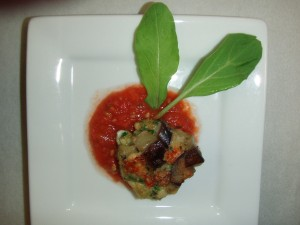 Eggplant Fritter with Roasted Tomato Sauce