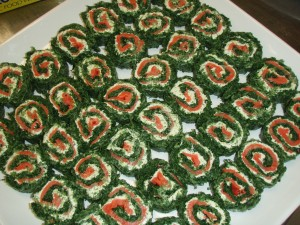 Smoked Salmon, Spinach & Herbed Cream Roulade